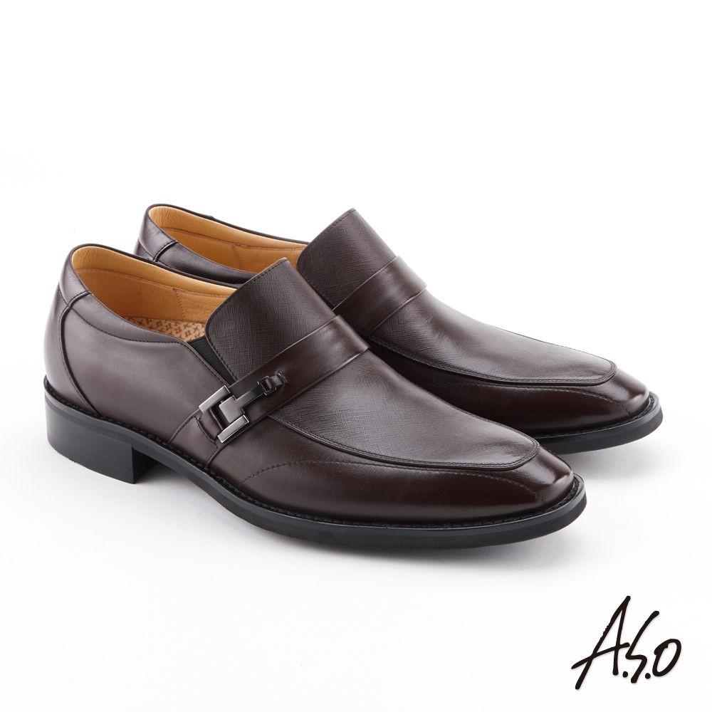 A.S.O 零壓挺立 牛皮壓紋極簡紳士鞋