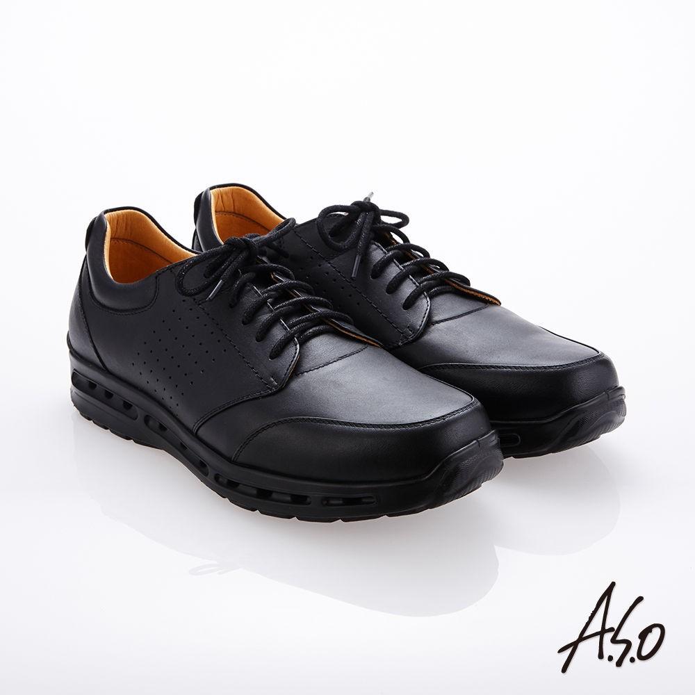 A.S.O霸足氣墊 綁帶奈米牛皮紳士鞋