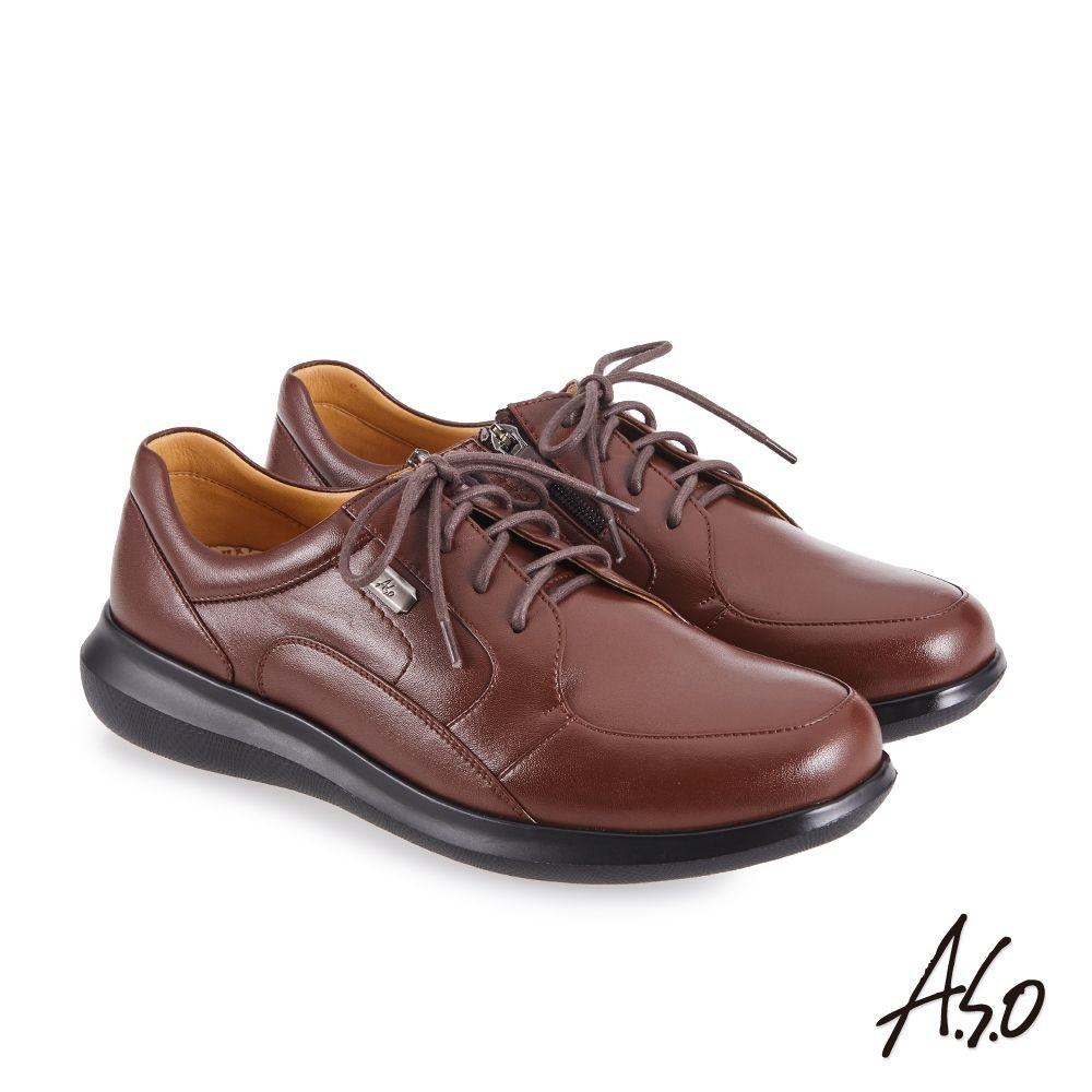 A.S.O機能休閒 萬步健康鞋 內腰拉鍊設計款商務休閒鞋