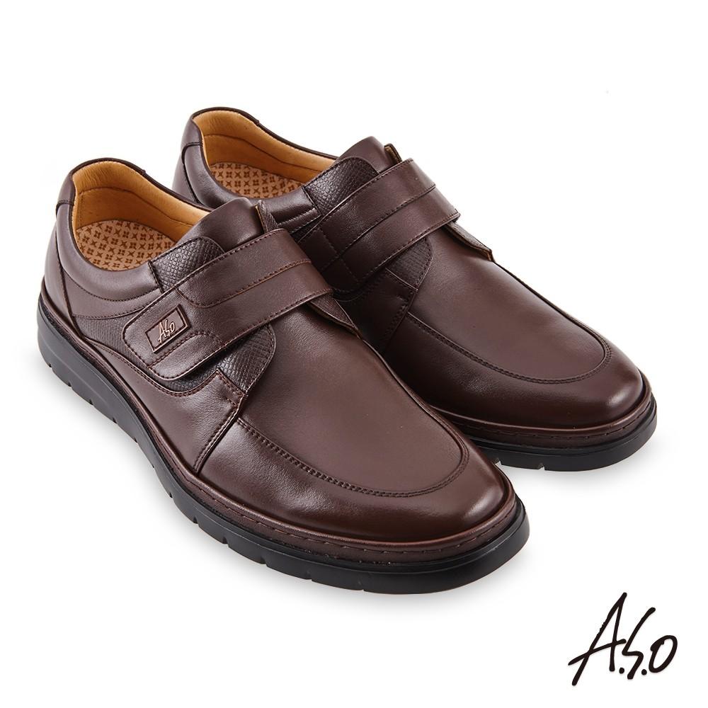 A.S.O機能休閒勁步健康魔鬼氈商務休閒鞋