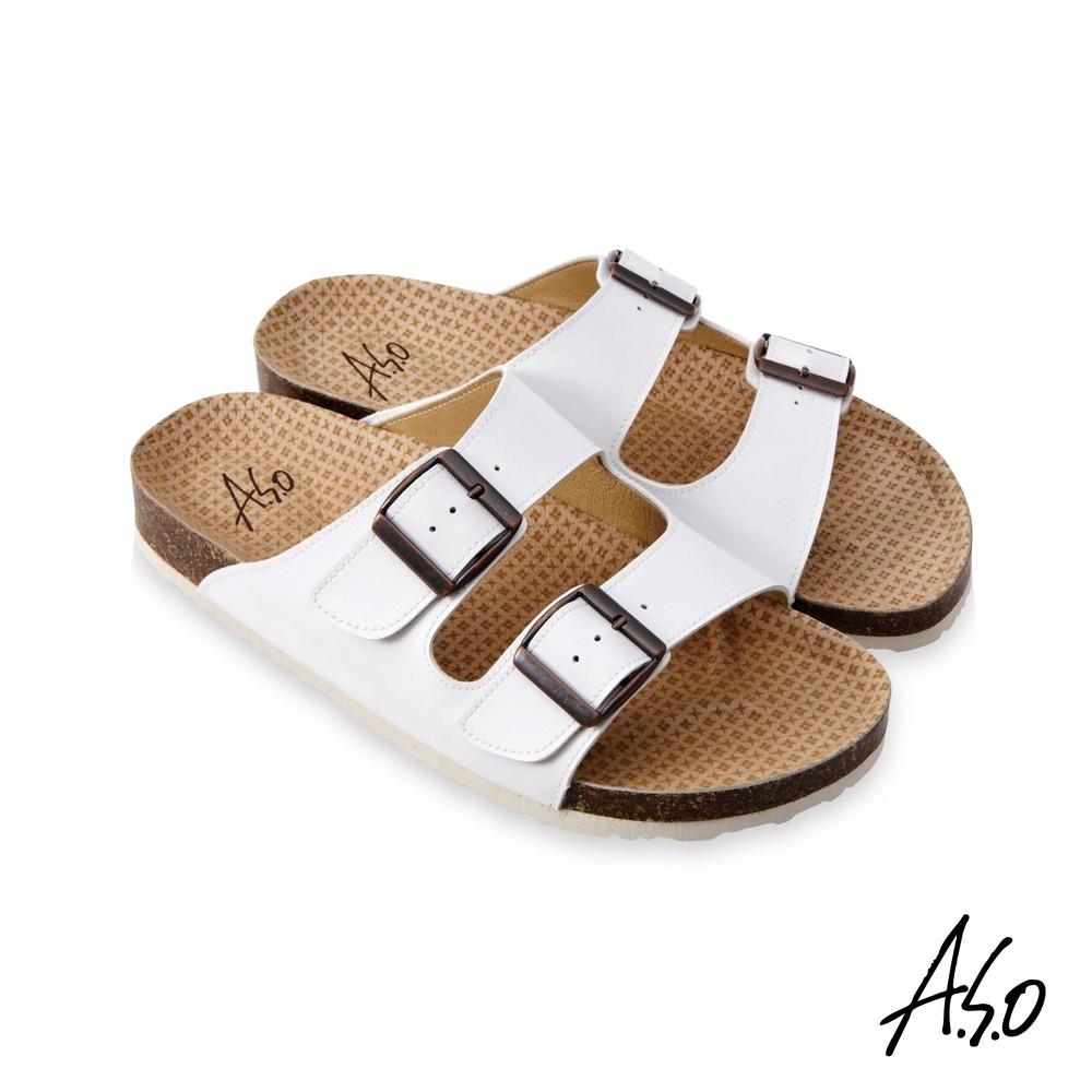 A.S.O 足健康雙帶釦拖鞋