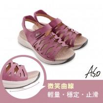 A.S.O機能休閒 輕穩健康鞋牛皮網格休閒涼鞋