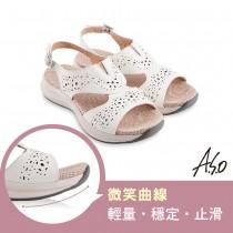 A.S.O機能休閒 輕穩健康鞋牛皮沖孔休閒涼鞋