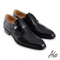 A.S.O職場通勤勁步健康鏡面魔鬼氈紳士鞋