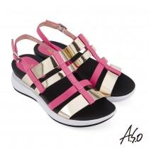 A.S.O 機能休閒 輕穩氣墊鞋金屬條帶羊皮休閒涼鞋