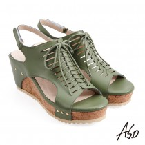 A.S.O 流行時尚 健步美型沖孔簍空厚底涼鞋