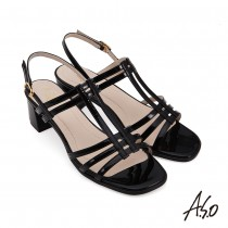 A.S.O 流行時尚 健步美型線條亮眼粗跟涼鞋