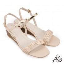 A.S.O 時尚流行 健步美型羊皮編織飾釦涼鞋