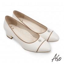 A.S.O 職場通勤 健步通勤優雅花朵鑽飾低跟鞋