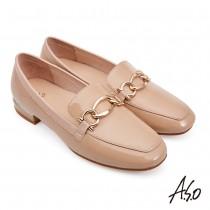 A.S.O流行時尚 親膚嚴選簡約漆皮樂福鞋