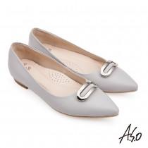 A.S.O流行時尚 健步通勤個性飾釦牛皮低跟鞋