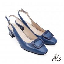 A.S.O職場通勤 健步美型時尚方釦中跟鞋