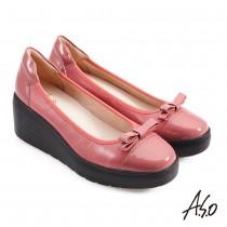A.S.O職場通勤 美力健康鞋頭蝴蝶結方頭械型鞋