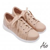 A.S.O機能休閒 Q彈紓壓菱格車線鑽飾羊皮休閒鞋