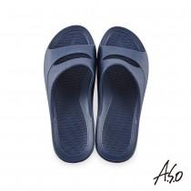 A.S.O 雙腳背帶舒室拖鞋-深藍