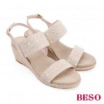 BESO熱情仲夏七彩水鑽鬆緊帶楔型涼鞋
