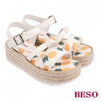 BESO活力俏媽咪派對水果蝴蝶結船台涼鞋