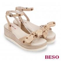 BESO活力俏媽咪波點百變蝴蝶結楔型涼鞋