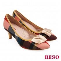 BESO活力俏媽咪造型飾扣格紋中跟鞋