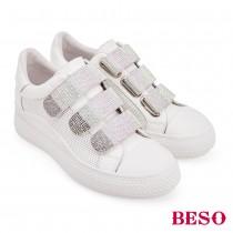 BESO跳躍圓舞曲真皮漸層燙鑽內增高休閒鞋