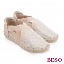 BESO野遊趣柔軟羊皮燙鑽鬆緊帶休閒鞋