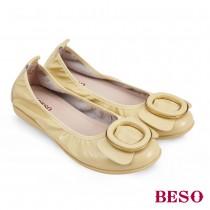 BESO野遊趣幻彩鏡面牛軟皮休閒娃娃鞋